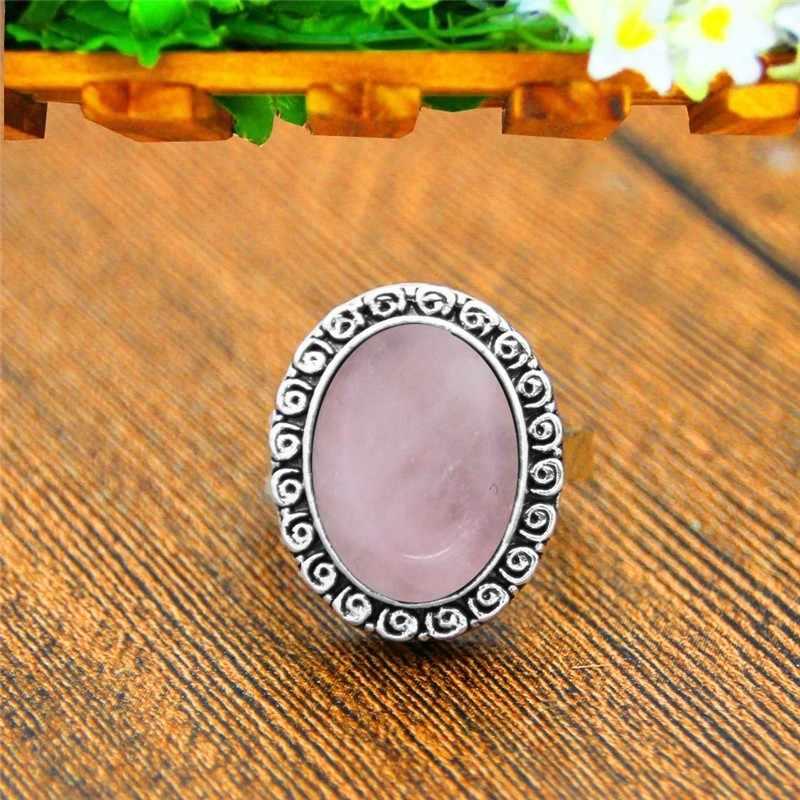 สีชมพูควอตซ์อเมทิสต์ Jades หินธรรมชาติสำหรับผู้หญิง Vintage Snail แหวนโบราณเงินชุบแฟชั่นเครื่องประดับ