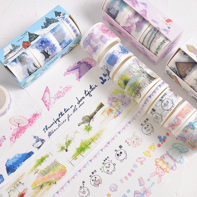 4/5/6Pcs Cute Leaves Masking Tape Kawaii Flower Washi Tape Decorative Adhesive Tape For Kid DIY Scrapbooking Diary Photos Albums 3