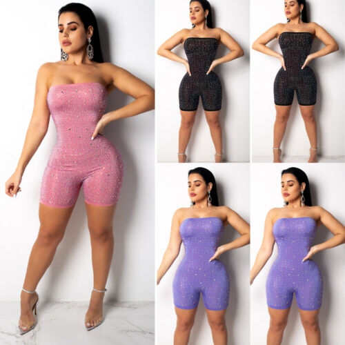 2019 New Style Fashion Hot Women's Off Shoulder Bodysuit Sequined Bandage Jumpsuit Romper Sheath One-Piece Woman Clothing
