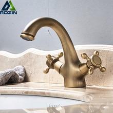 Dual ที่จับอ่างล้างหน้าอ่างล้างจาน TAPS Deck ติดตั้งทองเหลืองร้อนและเย็นอ่างล้างหน้าก๊อกน้ำทองเหลืองโบราณก๊อกน้ำห้องน้ำ