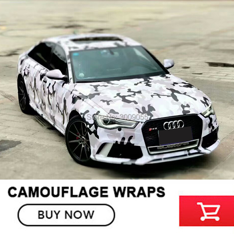 Camo Sticker Bomb Vinyl Wrap Black Grey White Snow Camouflage Vinyl 5/10/15/20/25/30m Camouflage Vinyl Film Air Drain