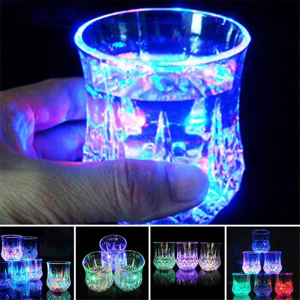 1 Pair of LED Flashing Light Up Margarita Drink Party Glasses b.. Free Shipping