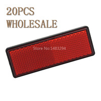 20 PCS WHOLESALE Red Bolt On Number Plate Rectangle Reflector Sticker For Motorcycles Scooter Bicycle Bike