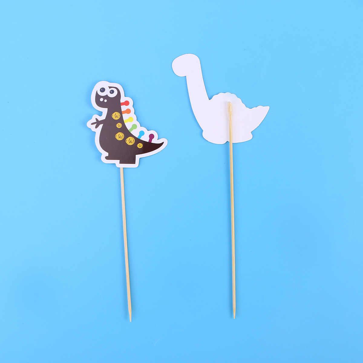 9 pcs Bonito Bolo Toppers Bolo Dinossauro Cartão da Inserção Papery Decoração Decoração De Mesa para Crianças Festa de Aniversário Do Queque