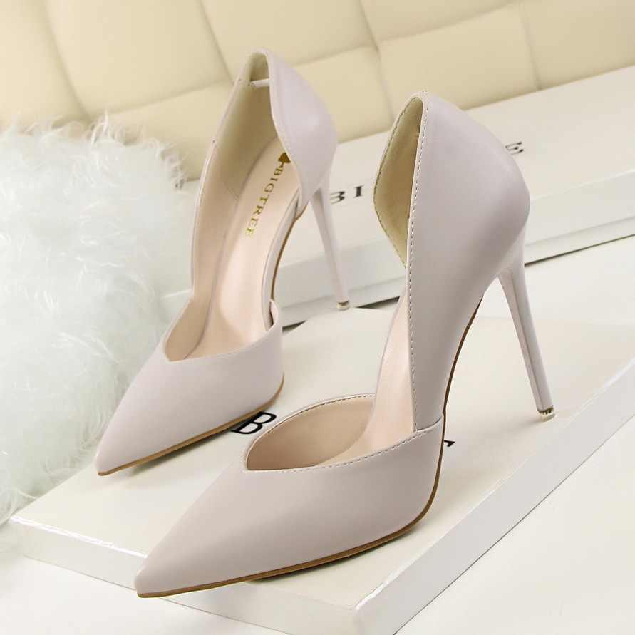 2d6f109f4 ... Mulheres Bombas de Moda Sapatos de Salto Alto Preto Amarelo Cor de Rosa  Mulheres Sapatos de ...