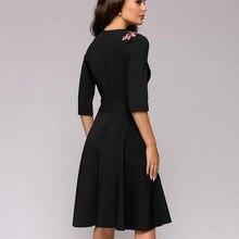 Women Vintage A-Line Dress Fashion Appliques Black Slim Spring Three Quarter Sleeve Elegant