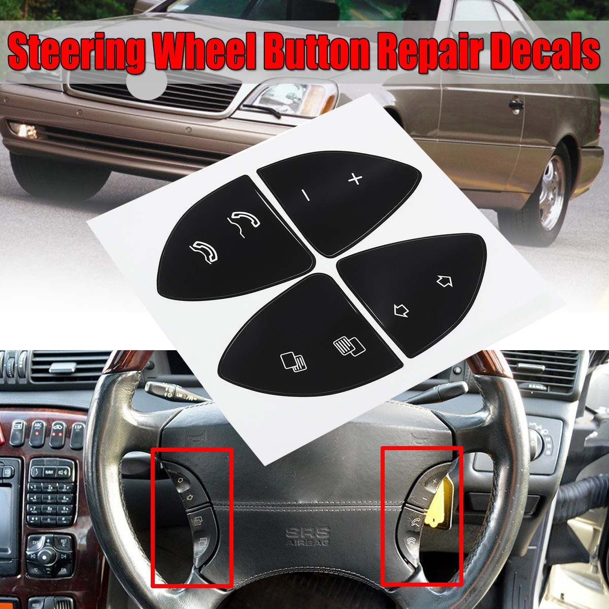 Car Button Repair Sticker Steering Wheel Button Repair Decals Stickers Kit For <font><b>MERCEDES</b></font> For BENZ W220 S430 <font><b>S500</b></font> S600 CL500 CL600 image