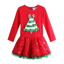 Mingkids Red Tutu Dress Dot For Girls Holidays Christmas Trees Princesse Fashion Baby Girl Autumn Frocks