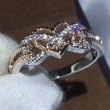 Fashion Heart Diamond Ring 18k Rose Gold Fringed Bague or Jaune Bizuterias for Women Anillos De Jewelry Etoile Rings Girls