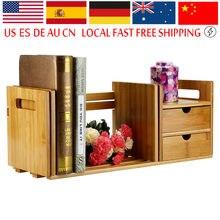 Ship From Us Natural Bamboo Wood Desktop Book Rack Minimalist Modern Easy Shelves Small Office Children Storage