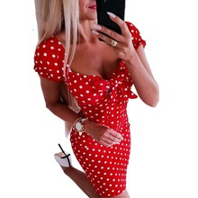Short Sleeve Vintage Dress Women Party Sheath Mini Summer Dresses Sundress Polka Dot Print Dress Vestidos