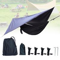 Park Seaside Beach Forest Camping Hammock Swing Portable Outdoor Mosquito Net Tent Set Tarpaulin Awning Double With A Canopy