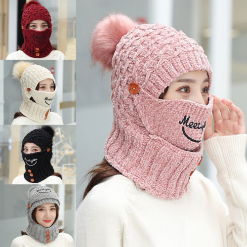 New Women knitted Hat Women Brand High Quality Winter Women Ball Ski Rabbit Fur Hat PomPoms Hats knitted scarf