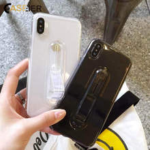 CASEIER 2 In 1 Invisible Finger Ring Case For iPhone XR X XS MAX Soft TPU Holder Phone Case For iPhone 10 7 8 6 6S Plus Cover ipy i601 2 in 1 design tpu plastic case for 4 7 iphone 6 black gold