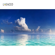 Laeacco Blue Sea White Cloud Connection Backdrop Photography Backgrounds Customized Photographic Backdrops For Photo Studio цена