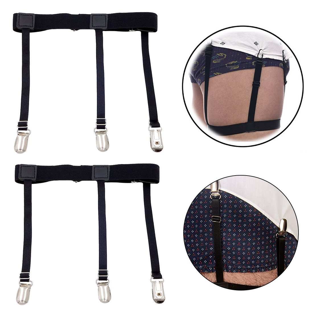 2 Pcs Men Shirt Stays Belt with Non slip Locking Clips Keep Shirt Tucked Leg Thigh Suspender Garters Strap in Men 39 s Belts from Apparel Accessories
