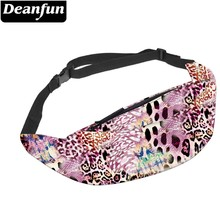 Deanfun Colorful Leopard Water Resistant Fanny Pack for Men Soft Waist Running Belt Pouch Phone  YB-38
