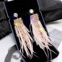 FYUAN-pendientes de lujo de cristal brillante para mujer, aretes largos con borla, pendiente con diamante de imitación pluma rosa, joyería para fiesta y boda