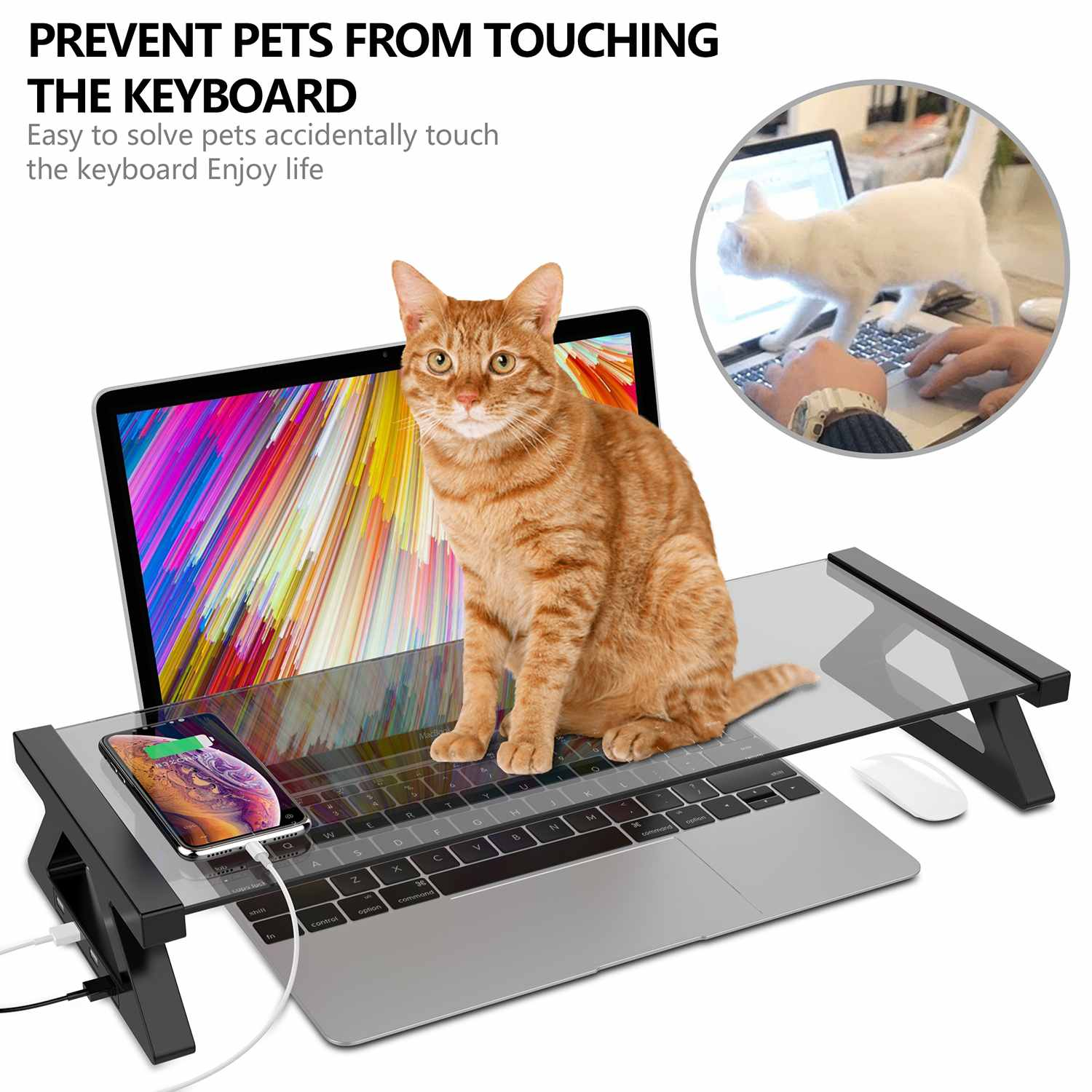 Computer Monitor Stand Multi-function Desktop Monitor Stand Computer Screen Riser Tempered Glass Plinth Strong Laptop Stand Desk