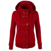 Women Warm Casual Hooded Long Sleeve Solid Button Coat Casual, Street, Outdoor, etc Outwea