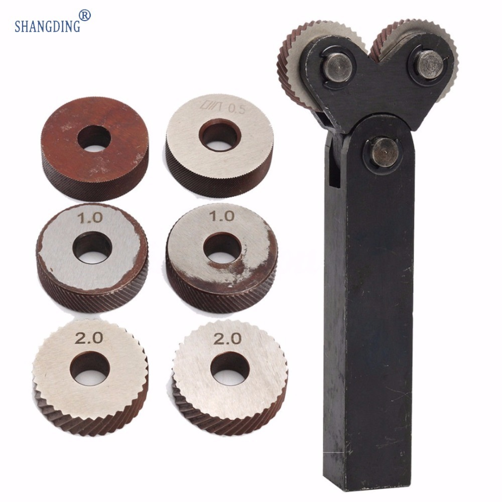 7pcs Steel Dual Wheel Knurling Tool Set With Diagonal Linear Knurl Wheel 0.5mm 1mm 2mm Pitch Linear Pitch Knurl Set Lathe Cutter