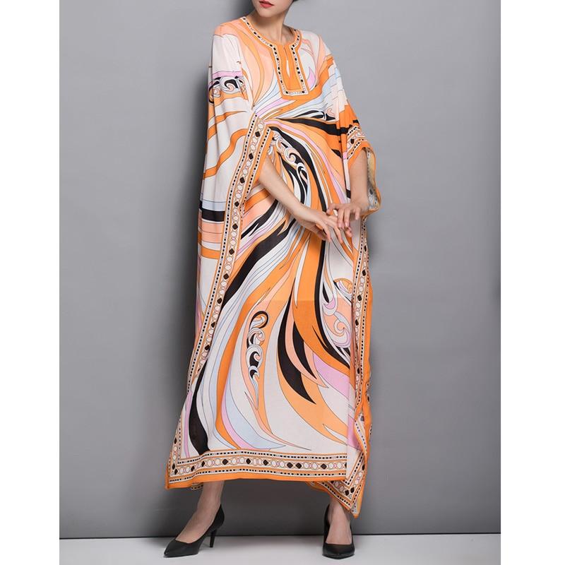spring runway 2019 dress abstract pattern print bohemehian plus size dresses o neck bat sleeve side