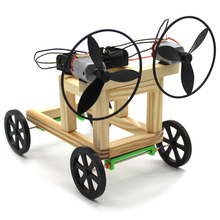DIY Wind Power Car 4WD Model Wood Electric Science Physical Experiments Assemble Kit Education Toys Motor for Kids Children