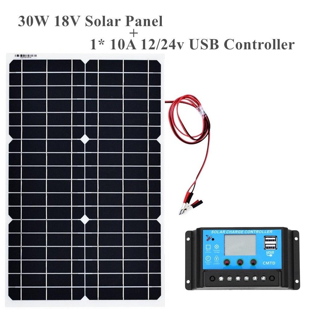 18v 30w Flexible Monocrystalline Solar Panel Controller 12V 24V Cells For Car Truck Motorcycle Boat RV