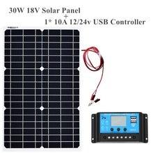 Гибкая монокристаллическая солнечная панель 18 в 30 Вт + контроллер 12 В/24 В ячеек для автомобиля/грузовика/мотоцикла/лодки/RV/кемпинга/туризма водостойкая