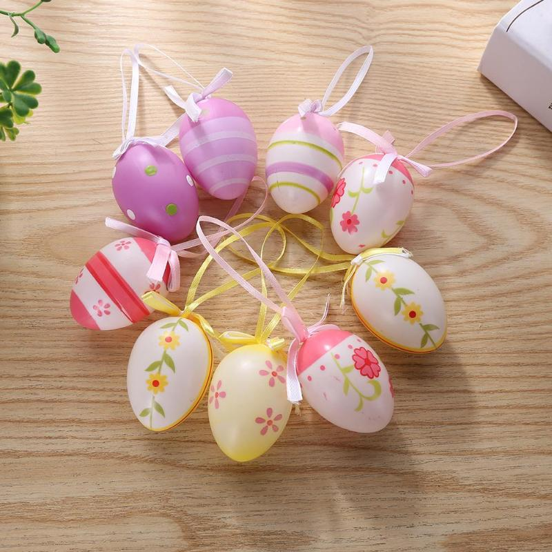 6/12/20pcs Easter Egg Pendant Plastic Eggs Creative Gifts Mixed Color Pendant DIY Painted Children Toy Gift Room Decoration