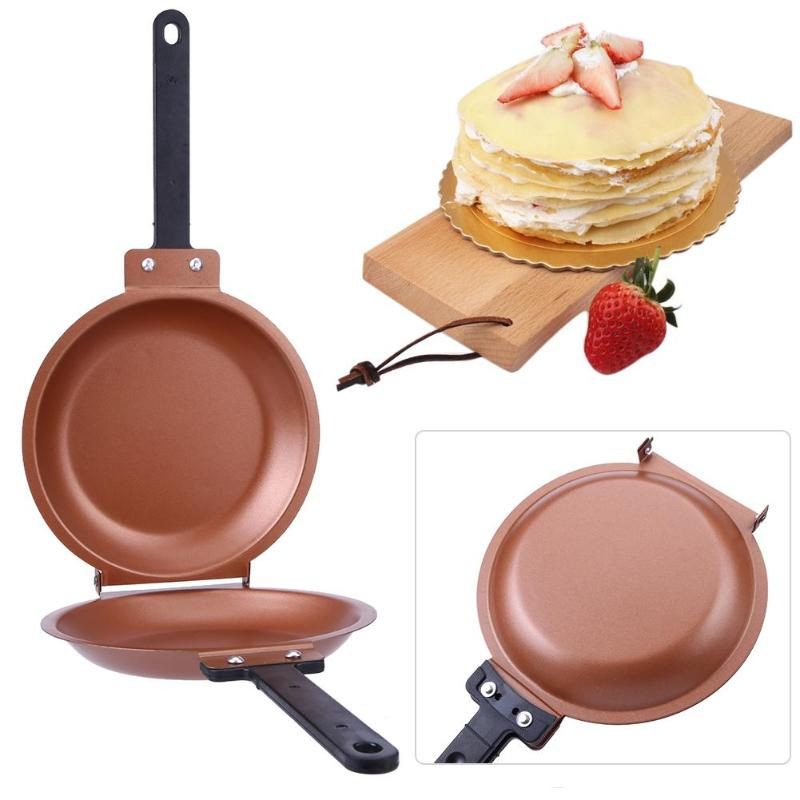 Non-stick Skillet Flip Pot Pancake Cake Maker Stainless Steel Frying Pan Cooking For Gas Induction Cooker Cookware Kitchen Tool