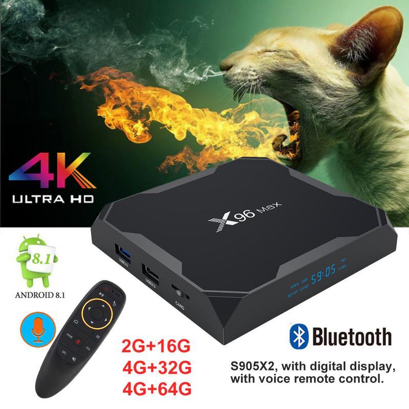 X96 Max TV Boîte 4g + 64g S905X2 Quad Core Cortex A53 Android 8.1 Gbps Lecteur Réseau Avec bluetooth Voix Télécommande Top Box