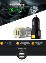 Dual USB Car Charger Quick Charge 3.0  Mobile  Charger  For Xiaomi mi 9 iPhone X Xr  Huawei Samsung S9 S8 QC 3.0 USB Car Charger цены