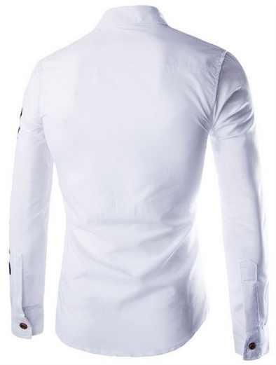 Zogaa Новый Для Мужчин's Рубашки на весну-осень Бизнес Повседневное офис мужской рубашка с длинными рукавами с буквенным принтом Slim Fit Для мужчин Костюмы 2019