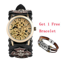 Steampunk Watch Automatic Mechanical Men Watches Vintage Bronze Leather Wristwatch Cool Mens Skeleton Clock reloj para hombre