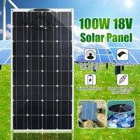 Гибкая панель солнечных батарей 100 Вт 12 в солнечное зарядное устройство для зарядки автомобильного аккумулятора 18 в Монокристаллический Мо
