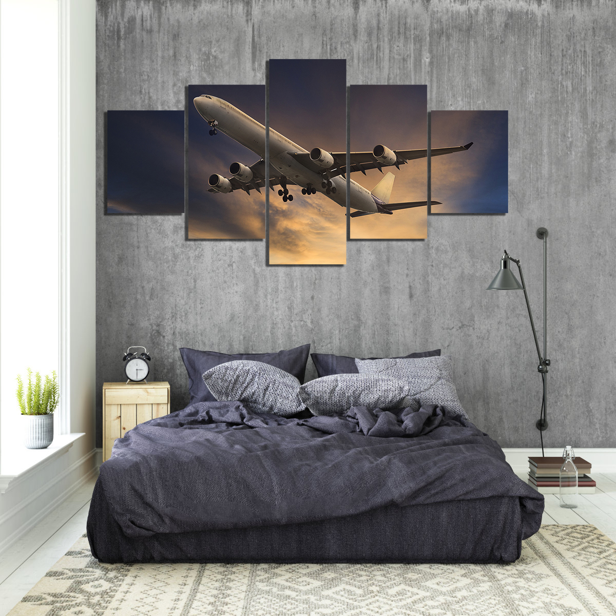 5 Panels Canvas Paintings Airplane Poster Pictures Landscape Wall Art for Home Decor 2