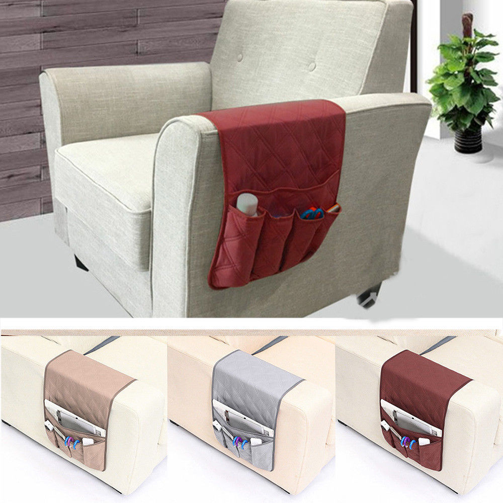 High Quality Armchair <font><b>Sofa</b></font> Chair Storage 5 <font><b>Pocket</b></font> Holder <font><b>Remote</b></font> Control Phone Couch Organizer Hanging Bag image
