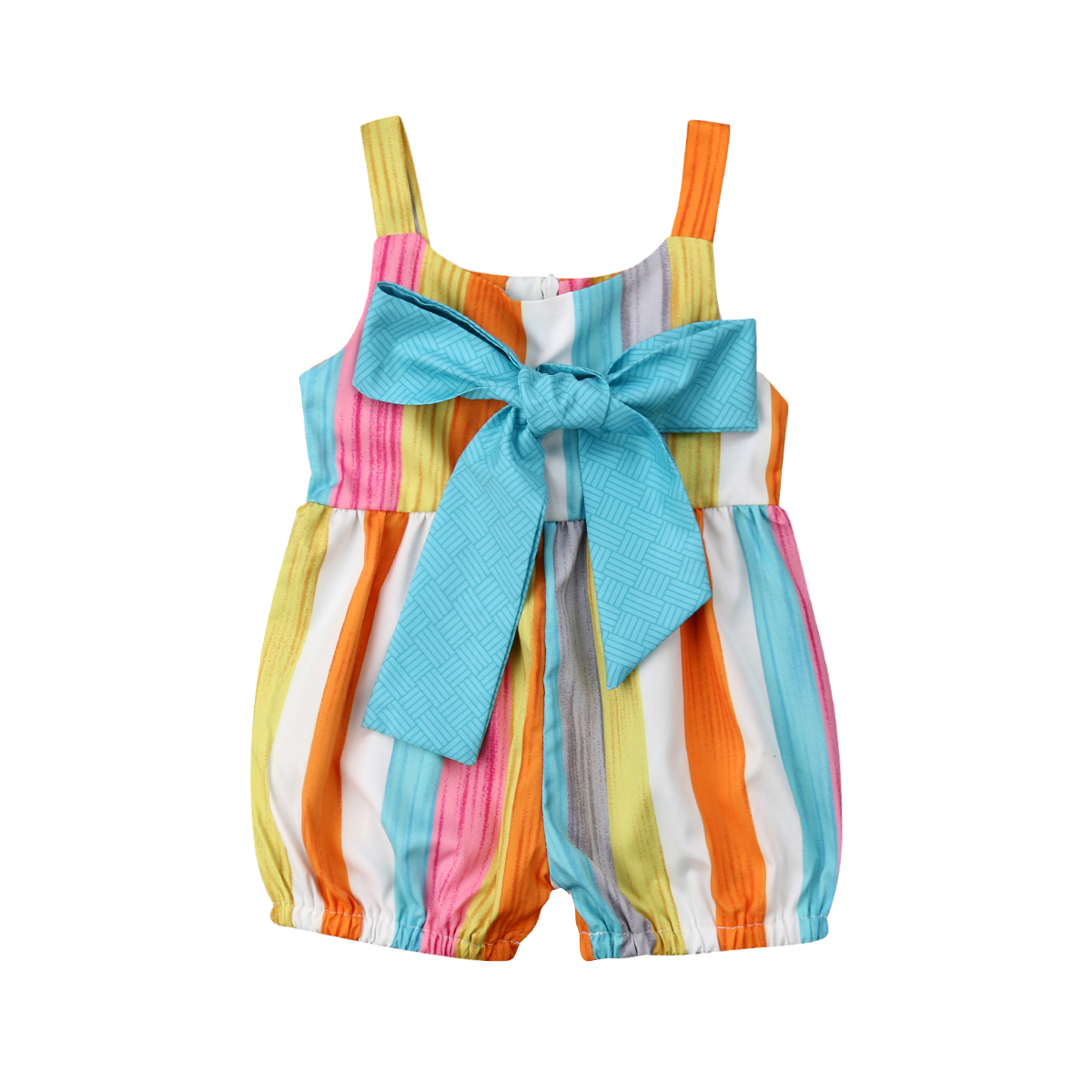 0-24M Summer Newborn Kids Baby Girls Clothing Muti-color Stripe Strap   Romper   Playsuit Sleeveless Casual Outfits