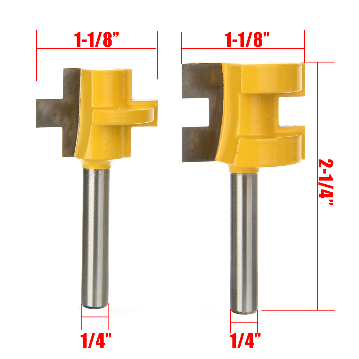 2Pcs Woodworking Chisel Cutter 2 Bit Tongue And Groove Router Bit 1 4 quot Shank Milling Cutter Woodworking Chisel Cutter in Milling Cutter from Tools