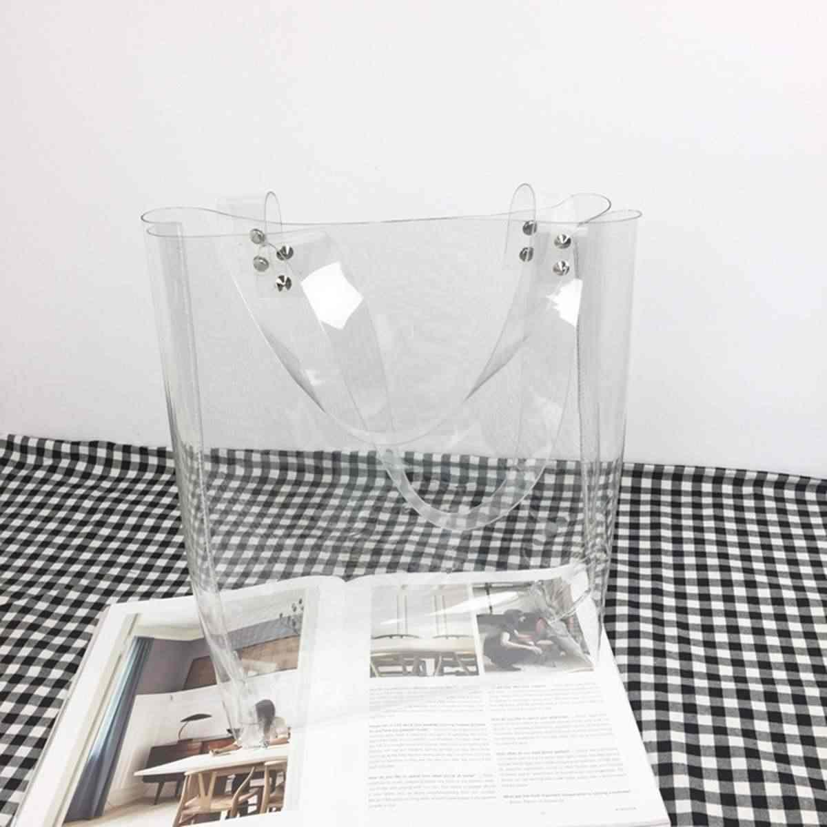 AEQUEEN 2019 Thời Trang Phụ Nữ Rõ Ràng Trong Suốt PVC Túi Xách Phụ Nữ Vai Túi Nhựa Tote Vận Chuyển Shopper Túi Nữ Ly Hợp Purse