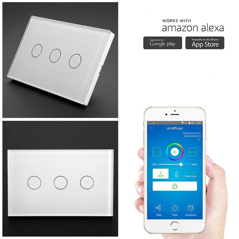 1/2/3gang Smart Wifi Light Wall Touch Switch Panel Home Remote Control Alexa Wall Touch Switch Panel,ac 110-240v 50/60hz Diversified In Packaging