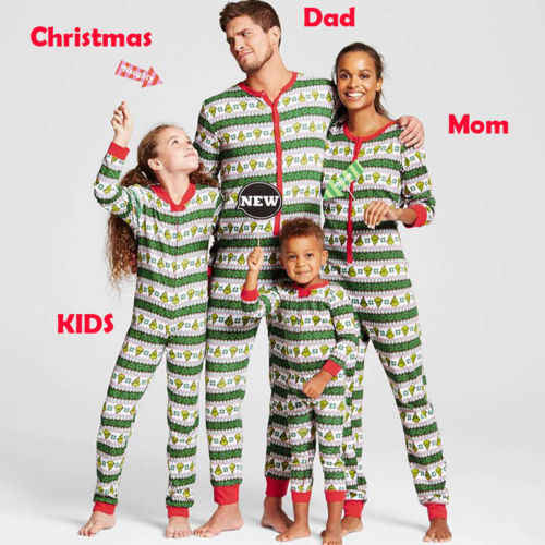 3120f7594d Family Matching Christmas Pajamas Set Women Childs Kids PJs Sleepwear  Nightwear Set Costume