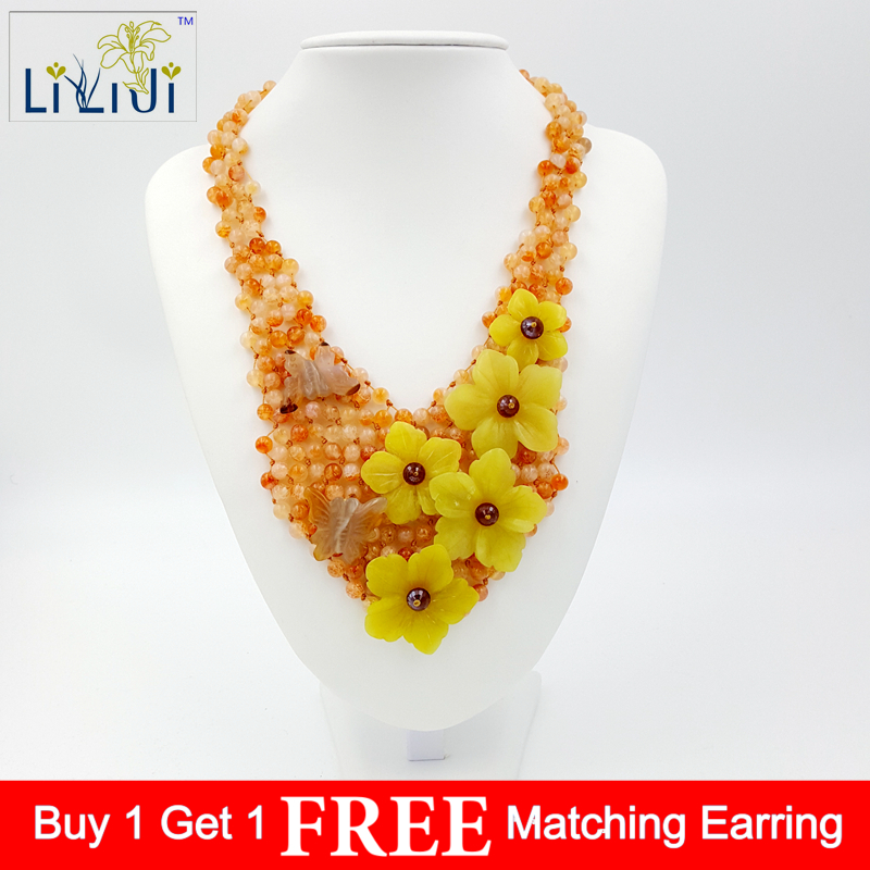 Lii Ji Fire Agate,Korea Jade,Flowers with Jade Toggle Clasp Handmade Knitting Necklace