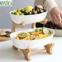 Nordic Candy Storage Box Plate Holder Bamboo Ceramics Double Layer Food Storage Rack Tray Snack Nut Fruit Melon Organizer Shelf