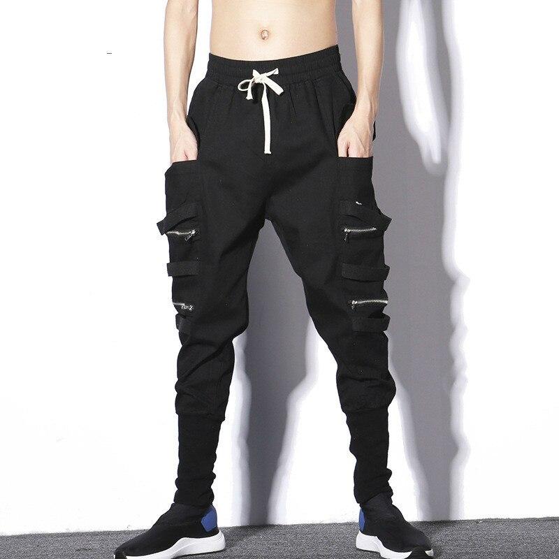 #2304 Männer Jogger Streetwear Hosen Mit Seite Taschen Frühling Herbst Bleistift Harem Hosen Männer Elastische Taille Schwarz Hip Hop Hosen Dance Den Speichel Auffrischen Und Bereichern