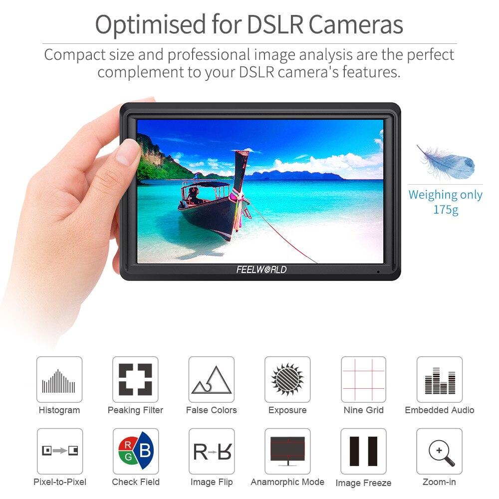 FEELWORLD FW568 5,5 pulgadas DSLR Cámara Monitor de campo 4K HDMI Full HD 1920x1080 LCD IPS salida de CC Enfoque de vídeo asistencia para cámaras - 4