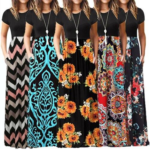 2019 Arrival Women's Floral Printed Short Sleeve Boho Casual Long Maxi Dress Split Party Beach Sundress Clubwear