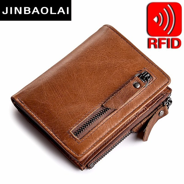 Genuine Leather Mens Wallet Clutch Male Vintage Hasp Slim RFID Wallet Short Coin Purse Men Card Holder Clamp For Money Wallets