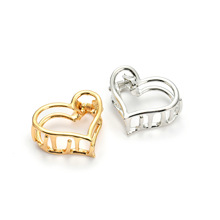 Fashion Plain Hair Claw Small Size Gold Metal Geometric Hairpin Heart Mold Clip For Women Sweet Clips Accessories